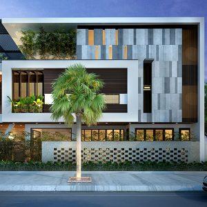 Biệt thự 3 tầng hai mặt tiền phong cách hiện đại tối giản