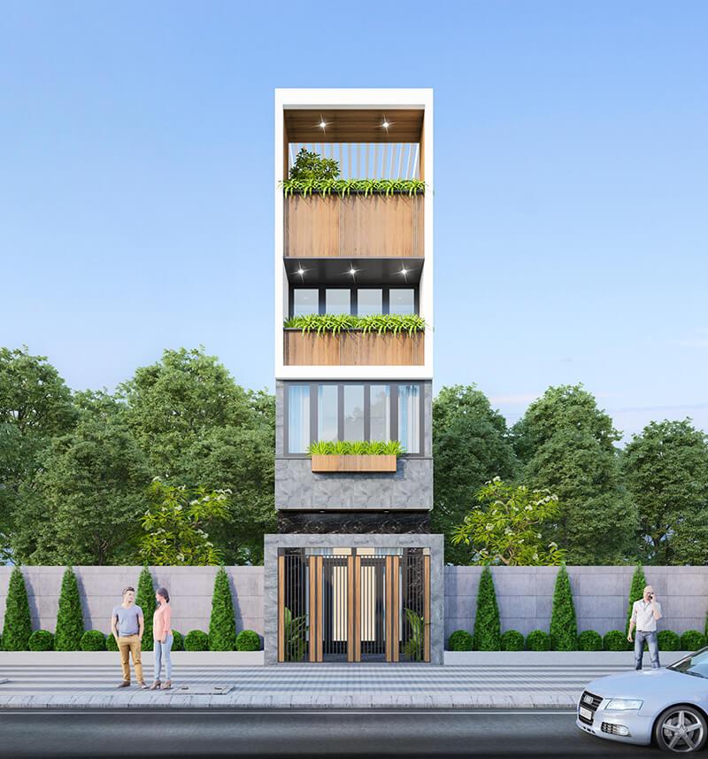 Thiết kế nhà phố 4 tầng hiện đại 4x10m thoáng đãng
