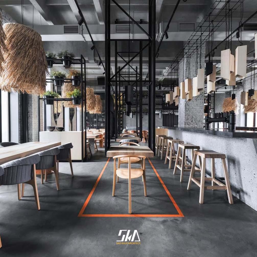 Mẫu thiết kế nhà hàng RuBy với nhiều vật liệu đột phá